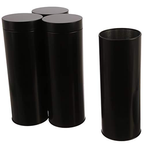 Dosenritter 4 x runde Vorratsdose/Teedose, luftdicht aus Metall für 250g | 20 x 7 cm (H,ø) | auch ideal als Mehl-, Reis- oder Keksdose