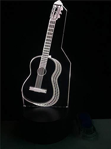HGFHGD Moldura de Guitarra Presentación de Diapositivas 3D Mesa LED Multicolor Control...