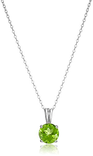 """Amazon Essentials Sterling Silver Round Cut Peridot Birthstone Pendant Necklace (August), 18"""""""