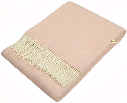 Zaloop Wolldecke Kaschmir versch. Farben ca. 140x200 cm Kaschmirdecke Decke Plaid Schurwolle rosa