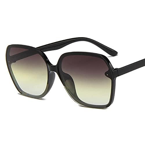 Powzz ornament Nuevas gafas de sol poligonales Gafas de sol de cara delgadacon monturagrande Gafas de sol para hombres y mujeres Gafas de sol de dos coloresGoggles-Black_Gray_Yellow