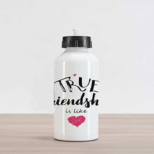 20oz Saying Aluminum Insulated Spill-Proof Travel Sports Water Bottle True Friendship is Like Lettering Completed by Pink Scribbled Heart, Black White and Pink