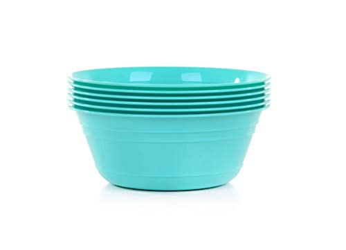 Mintra Home Snack Bowls Set (Small 6pk, 20 ounces, Teal) for Kids, Party, Serving, Everyday Use, Birthday Parties, Cereal, Salads, Side Dishes, Candy, Dessert, BPA free, Dishwasher Safe.