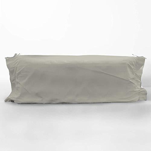 Pizuna 400 Hilos Funda de Almohada cilíndrica Gris, para cojín de 90cm, 100% algodón Tejido de satén Suave y Transpirable, (Cama 90 cm, 45 x 115 cm)