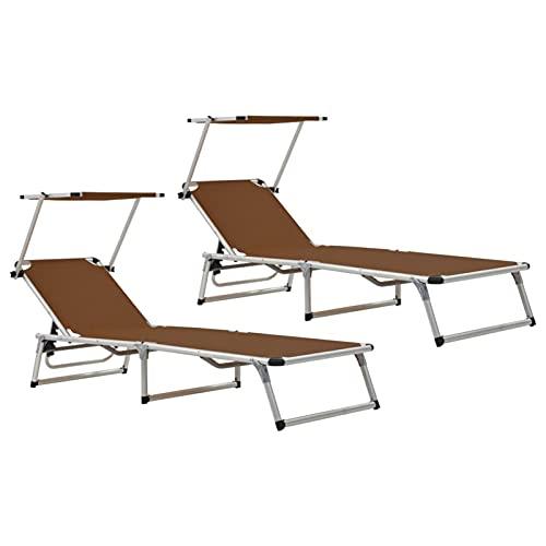 Tidyard Tumbonas Plegables con Techo 2 uds Aluminio y textilene marrón Silla Camping