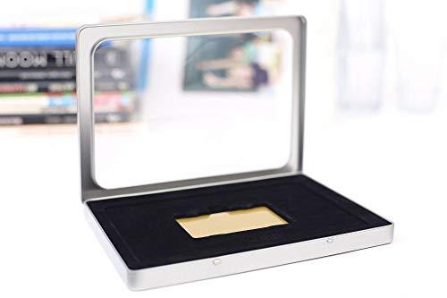 Tegoedbonnen - metalen doos - rechthoekige blikken doos met deksel, metalen doos 21,5 x 15,5 x 1,3 cm groot, hoekig, leeg, zilver mat met schuimvulling voor een cadeaubon