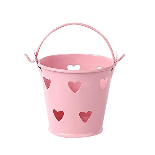 Cubo con diseño de corazón hueco para bolígrafos, jarrón para brochas de maquillaje, cesta de malla de metal, contenedor organizador de papelería, suministros para oficina, hogar, escuela