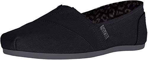 Skechers BOBS Women's Bobs Plush-Peace & Love Ballet Flat, Black/Charcoal, 8.5 Wide
