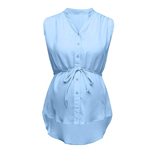 Womens Breastfeeding Tops Summer Maternity Pregnant Nursing Solid Striped Blouse Clothes Sky Blue