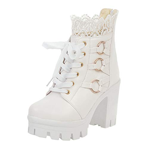 Sumeimiya Women's Sweet Lolita Ankle Boots Fashion Thick High Heel Lace Up Ankle Boots Platform Lace Student Shoes White
