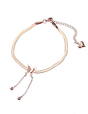 CEYIYA Rose Gold Ankle Bracelets for Women - Adjustable Dainty Layered Titanium Chain,Heart,Butterfly Anklets 18K Gold Plated Perfect for Teen Girls and Ladies - Fashion Layered Link Bracelet