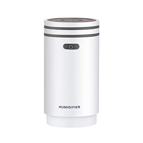 SUNSHINE HOME&3 Humidificador ultrasónico USB Mini Cold Mist 280ml Viene con un Espejo de Maquillaje, 7 Luces de atmósfera de Color, hidratante 280 ml,Gray
