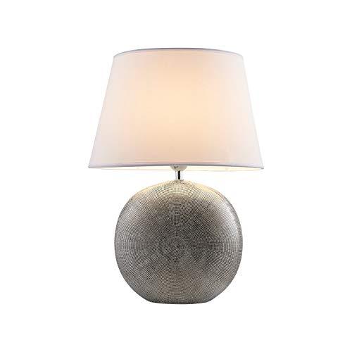 Lindby Tischlampe 'Florentino' in Weiß aus Textil u.a. für Wohnzimmer & Esszimmer (1 flammig, E27, A++) - Tischleuchte, Schreibtischlampe, Nachttischlampe, Wohnzimmerlampe