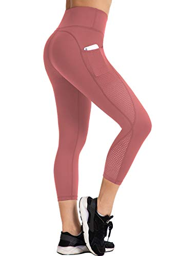 UURUN High Waisted Yoga Pants Capri Workout Leggings for Women with Pockets Tummy Control Non-See-Through Mesh Running Compression Capris for Fitness Gym Athletic Pink-M