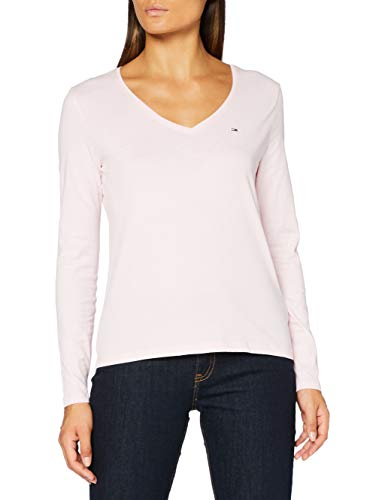 Tommy Jeans Damen TJW Jersey V Neck Longsleeve Hemd, Romantisches rosa, Small