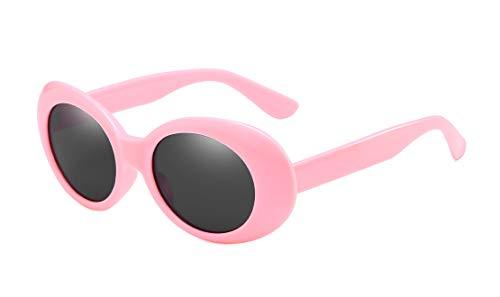 BOZEVON Retro Gafas de sol Ovaladas - UV400 de Protección Anteojos para Mujer y Hombre Rosa-Negro C5