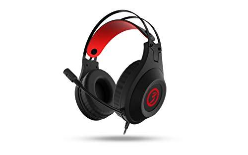 Cascos Gaming Ozone Rage X60 - Auriculares con microfono - Sonido 7.1 Virtual, LED rojo, Altavoces 50mm, Diadema Ajustable, Micro Flexible, USB, Negro