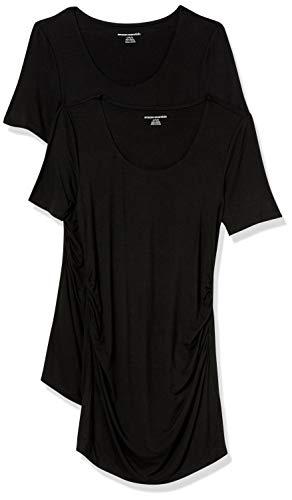 Amazon Essentials Maternity 2-Pack Short-Sleeve Rouched Scoopneck T-Shirt Camiseta, Negro/Negro, M