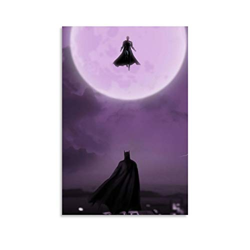 NUOMANAN Watercolor Art Prints Superman Batman Face-to-face Battle 16x24inch(40x60cm) Art Poster Wall Art Decoration for Bedroom Bathroom Dining Room Unframed/Frameable