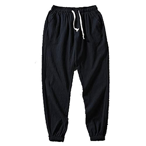 Verano nueve pantalones de los hombres pies delgados sueltos protectores solares Hebillas de lino pantalones, Negro, 3X-Large