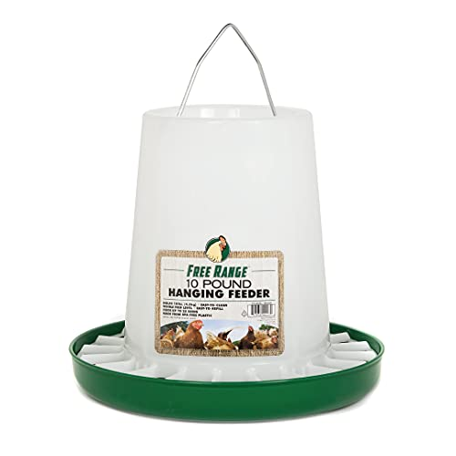 Harris Farms 1000290 Free Range Plastic Hanging Poultry Feeder, 10 Pound, (Pack of 1), White
