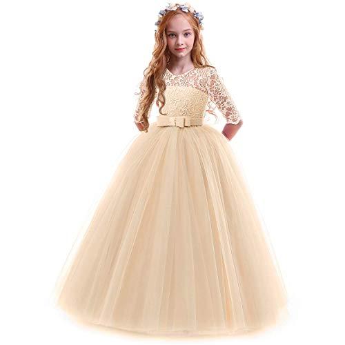 OBEEII Prinzessin Kleid Mädchen Abendkleid für Hochzeit Brautjungfer Blumenmädchen Geburtstag Party Jugendweihe Fasching Cocktail Dance Ballkleid Champagner 3-4 Jahre