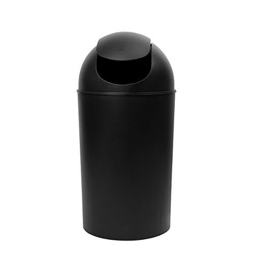 Umbra Grand 10-Gallon Swing-Top Trash Can, Black