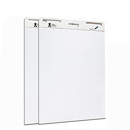 Class Captain Sticky Easel Pad 25x30 Inches 25 Sheets/Pad - 2 Pack of Premium Self Stick Flip Chart Paper - White Large Chart Paper for Teachers, Meeting Presentation Paper Pad, Giant Wall Post Notes