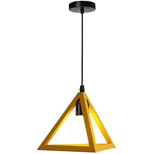 STOEX Simple Lámpara Colgante Retro E27 Lámpara de Techo Colgante Industrial en Forma de Triángulo Metal Araña para Dormitorio Sala de estar Cocina Comedor, Amarillo