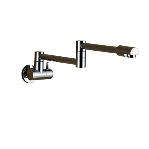 Rozin Brass Kitchen Wall Mount Single Handle Pot Filler Faucet Swing Swivel Spout Chrome Polished Cold water Only