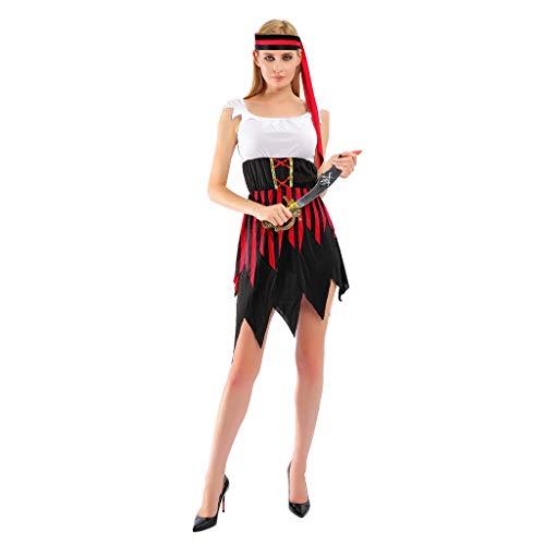 EraSpooky Damen Piratenkostüm Piratin Kostüm Karibik Faschingskostüme Cosplay Halloween Party Karneval Fastnacht Kleid für Erwachsene
