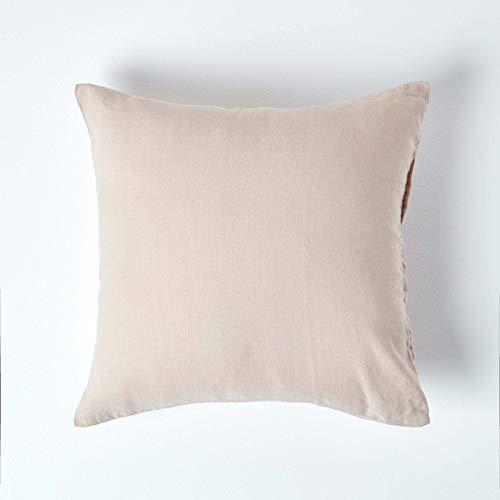 HOMESCAPES Funda de almohada de lino natural con textura continental natural y fibra de lino francés, 100% mezcla de algodón, funda de almohada estándar, cuadrada, 40 x 80 cm