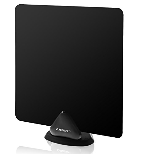 HDTV Antenna, Liger Ultra-Thin Indoor Antenna 50 Mile Range - Receive HD Television Signals for Free - Plugs Directly Into Your TV - Includes Adhesive & Stand