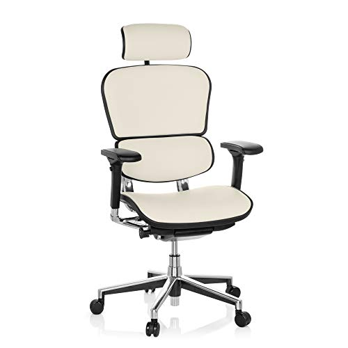 hjh OFFICE 652231 Luxus Chefsessel ERGOHUMAN Echtes Leder Weiß hochwertiger Bürodrehstuhl mit Vollausstattung