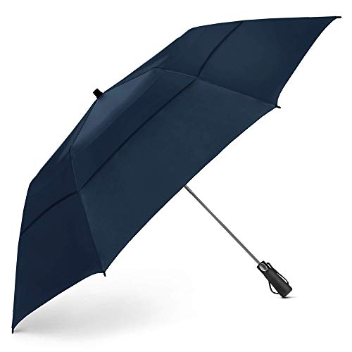EEZ-Y Golf Umbrella Large 58 Inch Double Canopy Strong Windproof Heavy Duty & Oversized but Foldable Into Compact Size of 23 Inches For Travel Break Resistant Rain Umbrellas - Navy Blue