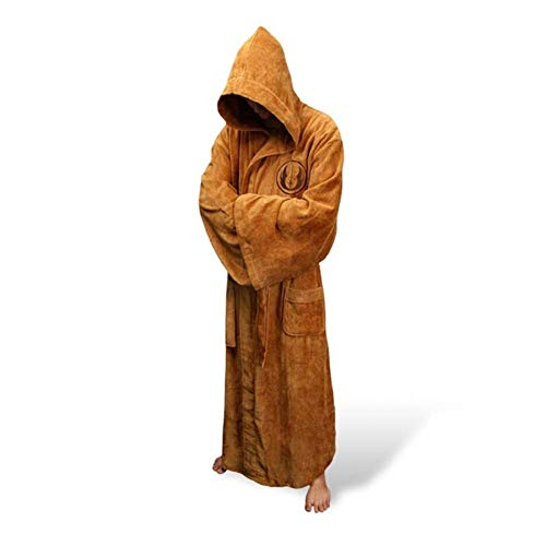 NAHUIYI Bademantel Flanell Robe Male Mit Kapuze Dressing Gown Jedi Bademantel Winter Lange Robe Herren Bademantel,Braun,XL