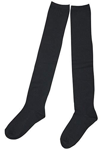 0724 BK 無地 ニーハイソックス ブラック サイズフリー 靴下 ゴルフ