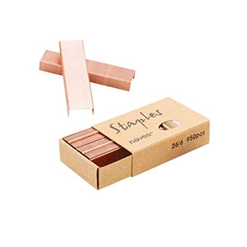 Grapas de oro rosa de 26/6 mm, 4 cajas por paquete, 3800 grapas