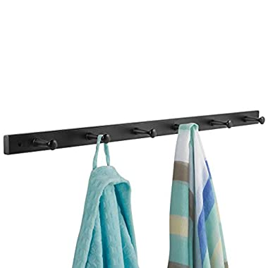 InterDesign Wall Mount Wood Storage Rack – Hanging Hooks for Jackets, Coats, Hats and Scarves - 6 Pegs, Matte Black