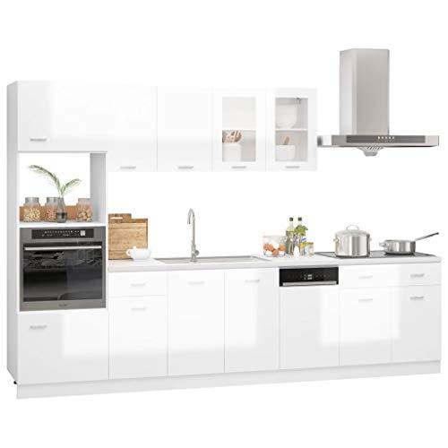vidaXL Juego de Muebles de Cocina 7 Piezas Comedor Mobiliario Armario Estante Almacenaje Microondas Fregadero Lavavajilla Aglomerado Blanco Brillo