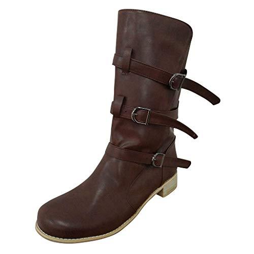WUSIKY Geschenk für Frauen Stiefeletten Damen Bootsschuhe Boots Fashion Weisecowboy Reitstiefel Retro beiläufige große mittlere Schlauch lädt Schuhe auf (Kaffee, 39.5 EU)