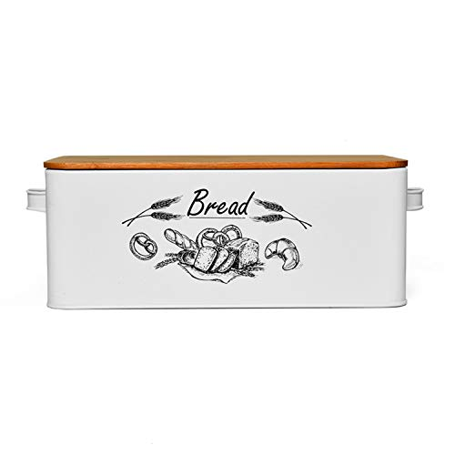 Gonioa Bread Box for Kitchen Counter, Vintage Style Metal Bread Bin with Bamboo Lid, Stainless Steel Large Bread Bin Storage Container Counter Organizer for for All Your Bread Storage
