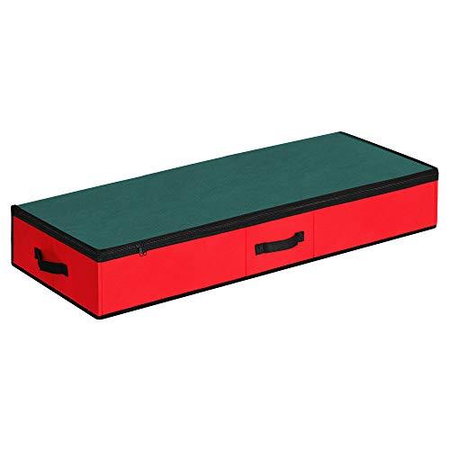 SONGMICS Aufbewahrungstasche unterm Bett, Aufbewahrungsbox auf dem Schrank, mit Trennwand und Innentasche, für Weihnachten, faltbar, mit Reißverschluss, 102 x 40 x 15 cm, rot-grün RXU001R01