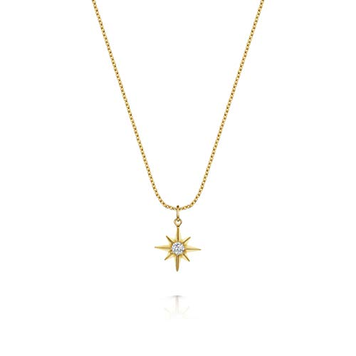 Women's 18ct Gold Vermeil Necklace, Olivia Cooper Lennox Crystal Star Cubic Zirconia Pendant , 42cm+5cm, Luxury Jewellery Packaging, Mother's Day Birthday Anniversary Present