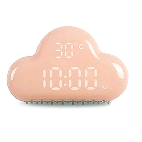 FangFSHUAI slimme wekker wolk wekker second generatie Luminous intelligente wekker creatieve gestuurde stembediening digitale wekker datum temperatuurweergave, roze