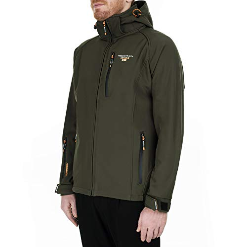 Geographical Norway Taboo Men's Softshell Jacket Functional Outdoor Rain Jacket - Green - Large