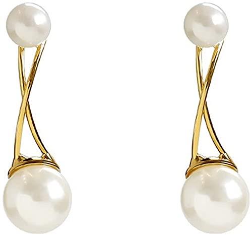 JJYGONG Pendientes Hechos a Mano Pendientes de Gota Pendientes de Perlas Simuladas Joyería de Moda Adecuada para Joyería de Mujer Retro