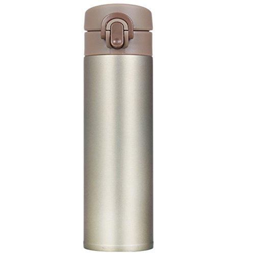 Botella de Agua Aislada al Vacío 420 ml Taza del Viaje de vacío con Aislamiento de Acero Inoxidable con Tapa Abierta la Tapa de Doble Pared para Adultos, Niños (Color : Gold)