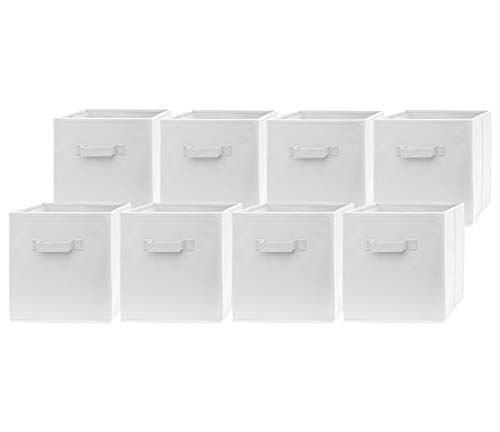 Pomatree Fabric Storage Bins - 8 Pack - Durable Storage Cubes with 2 Reinforced Handles  Foldable Cube Baskets for Home Kids Room Nursery and Playroom  Closet and Toys Organization White