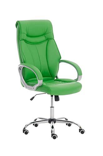 CLP Poltrona Ufficio Torro con Braccioli I Sedia Scrivania Ergonomica in Similpelle I Sedia Pc Girevole, Colore:Verde